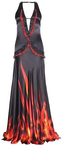 Roberto Cavalli Fire Waves Embellished Printed Silk Gown