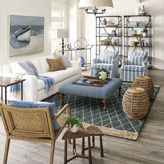 Beach Living Room, Blue Living Room Decor, Coastal Living Rooms, Home Living Room, Living Room Designs, Rustic Side Table, Side Tables, Gliders, Bar Cart