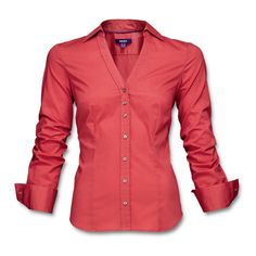 Long-sleeved, fitted button-up in a strong, solid color