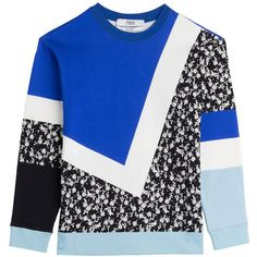 Prabal Gurung Printed Cotton Sweatshirt (357 AUD) ❤ liked on Polyvore featuring tops, hoodies, sweatshirts, sweatshirt, sweaters, blue, sportswear, women, colorful sweatshirts and sweat tops