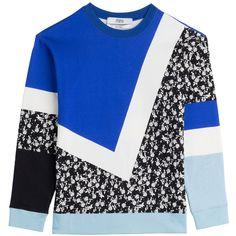Prabal Gurung Printed Cotton Sweatshirt ($255) ❤ liked on Polyvore featuring tops, hoodies, sweatshirts, sweatshirt, sweaters, blue, sportswear, women, graphic tops and long sleeve sweatshirt