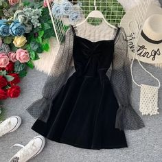 JoinYouth 2020 Autumn Pleuche Party Dress Puff Sleeve Mesh Patchwork Women Mini Dresses A-line Pleated Vintage Vestidos Cute Casual Outfits, Pretty Outfits, Pretty Dresses, Beautiful Dresses, Dress Casual, Casual Shirts, Teen Fashion Outfits, Look Fashion, Fashion Dresses