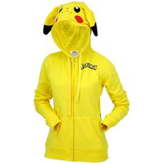 Juniors Pikachu Zip Up Hoodie ($53) ❤ liked on Polyvore featuring tops, hoodies, cotton hooded sweatshirt, yellow zip up hoodie, yellow hoodie, hooded pullover and cotton zip up hoodie