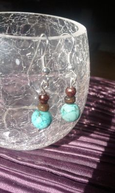 Turquoise Silver Hook Earrings by WillowJane on Etsy, $9.01
