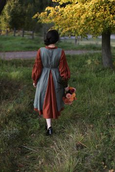 Cottagecore dress Woodland girls linen dress song sleeve hand painted Fox art