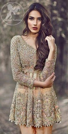 Fully embellished short frock(front & back).Embellished motif implemented at the bottom of trousers. Pakistani Frocks, Pakistani Party Wear, Pakistani Wedding Outfits, Pakistani Couture, Pakistani Dresses, Indian Dresses, Indian Outfits, Asian Party Wear, Short Frocks