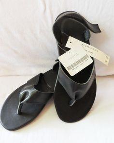 NIB $560 Y3 YOHJI YAMAMOTO NOIR Adidas Black Slingback Flipflops Thong Sandals 5 #YohjiYamamoto #FlipFlops