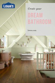 Create a calming bathroom escape with craftsman style, sun-soaked tones, and Kohler bathroom essentials. Attic Rooms, Attic Spaces, Small Room Bedroom, Kohler Bathroom, Bathroom Cabinets, Dream Bathrooms, Beautiful Bathrooms, Attic Remodel, Bathroom Essentials