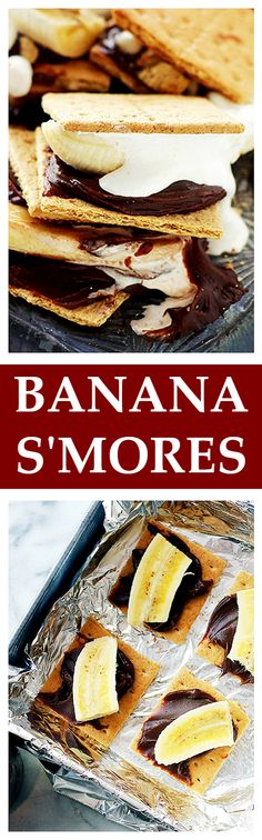 Banana S'Mores - I know that you know how to make gooey chocolaty delicious s'mores, but let me tell you… adding a banana to all this mess is a fabulous idea! Get the recipe on diethood.com