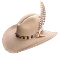 43744286 This from Stetson has that Old West look you love with the Gus Crown and  leather hat band with studs and a feather. If you''re looking for a  different style ...