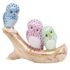 """Herend Hand Painted Porcelain Figurine """"Owls On Branch"""" Blue Raspberry Key Lime Fishnet Gold Accents."""