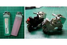 The motorcycle is made from the lighter. Unbelievable.      消しゴムはんこや古着のリメイクなど、おうちで創作活動をしている人って結構いると思います。しかし、こんなのを作っている人は初めて見...