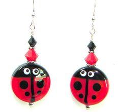 Ladybug Earrings Lampwork Earrings Crystal Earrings by jillsgems1, $28.00