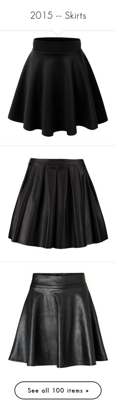 """""""2015 -- Skirts"""" by kyla-perez-santiago ❤ liked on Polyvore featuring skirts, bottoms, saias, black, stretch skirt, flared hem skirt, flared skater skirt, skater skirt, wide skirt and faldas"""