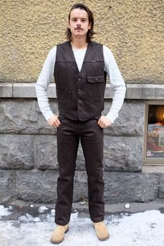 Indigofera Swearengen Black/Brown Hickory Stripe   Pinkomo Black And Brown, Overalls, Vest, Pants, Jackets, Clothes, Dresses, Fashion, Trouser Pants