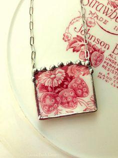 Johnson Bros Strawberry Fair broken china jewelry necklace made from broken china