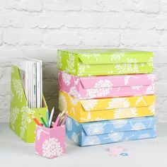 Summery Sunflower, Dandelion, Fern and Hydrangea prints in cheerful colours to brighten up your workspace or desk. All our beautiful handmade stationery and storage products are produced in an eco-friendly way, from 100% recycled materials.