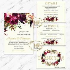 Printable Wedding Invitation Suite, Floral Wedding Invitation, Boho Wedding, Digital Download, DIY Wedding, Burgundy Wedding, Garnet Wedding by UnmeasuredBranding on Etsy