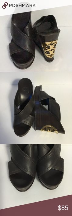 "Tory Burch Wedge Sandals Beautiful! Size 7 1/2M Tory Burch Wedge Sandals Beautiful! Size 7 1/2M. Very classy shoe. Beautiful gold toned emblem on the back of the heel. Leather straps. There is slight wear on the sides as shown in the photos. Also on the soles. They are still in  excellent condition!  Heel height is 5"".  Loc: 10 Tory Burch Shoes Sandals"