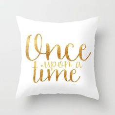 Once Upon a Time - Gold Throw Pillow by Bookwormboutique - $20.00