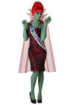 Still haven't picked your Halloween costume? Well how about one of the many great supporting movie characters like the dead beauty queen receptionist from Beetlejuice? Loved that scene! Pretty close to the real one!