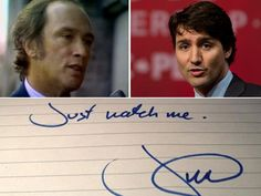 The Late Honorable Pierre Elliot Trudeau, Prime Minister of Canada and his eldest son, Justin Trudeau , newly elected Prime Minister of Canada