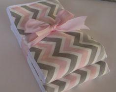 Baby Burp Cloths - Pink and Gray Chevron   Set of 2