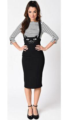 Preorder -  Unique Vintage Retro Style Black Cat Sabrina Suspender Skirt