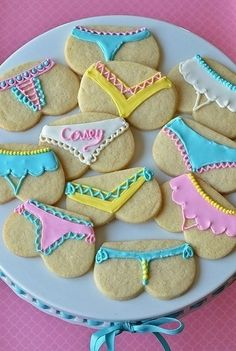 bridal shower game - have guests decorate their own cookie with a skivvy design and let bride choose her favorite.