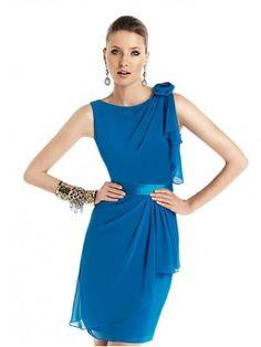 Fashion Royal Blue Knee Length Ladies Parrty Chiffon Dress