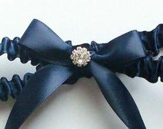 Items Similar To Navy Blue Satin Ribbon Garter With Bow And Swarovski Crystal Centering