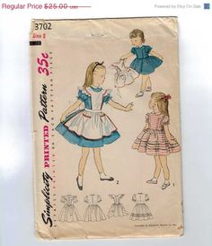 1950s Vintage Girls Sewing Pattern Simplicity 3702 Alice in Wonderland