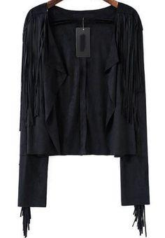 Black Long Sleeve Tassel Crop Outerwear 39.33