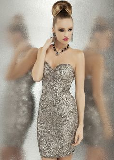 Free Shipping on Scala 47523 silver sequin strapless cocktail dresses online now at RissyRoos.com.