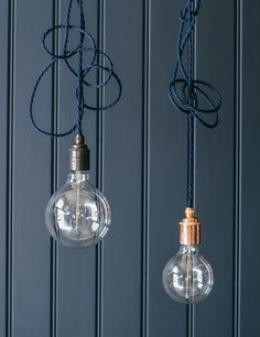 Nostalgia Twisted Flex Pendant Set in Midnight Blue at Rose and Grey Family Office, Bar Lighting, Pendant Lighting, Industrial Style Lighting, Industrial Living, Lamp Light, Light Bulb, Bulb Lights, Conservatory Lighting