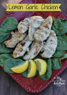 Gluten-free Lemon Garlic Chicken ~ This is our favorite meal to make on the grill. We make it every other week all summer long!