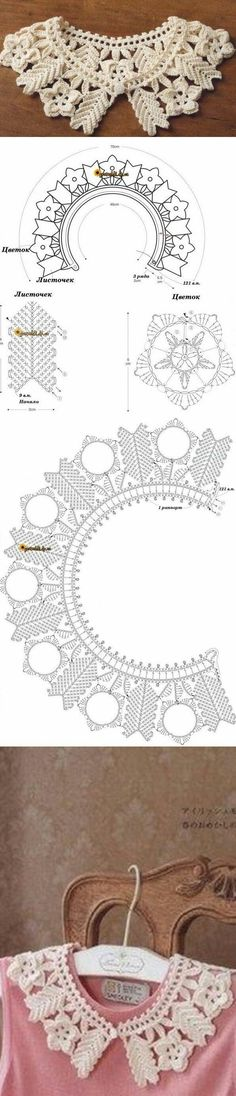 Crochet Patterns Lace An irish crochet lace collar: big flowers and a lot of texturecredo che in pizzo nero diventi molto dark e chicIG ~ ~ crochet yoke for Col Crochet, Crochet Lace Collar, Crochet Motifs, Crochet Diagram, Crochet Chart, Irish Crochet, Crochet Doilies, Crochet Flowers, Crochet Stitches