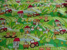 Kinderstoff, 100 % Baumwolle, Grün,Tiere,Bauernhof,Traktor,Kinder Stoff