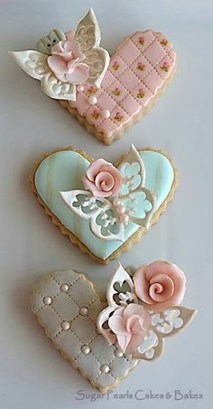 Decorated Heart Cookies from Sugar Pearls Cakes & Bakes