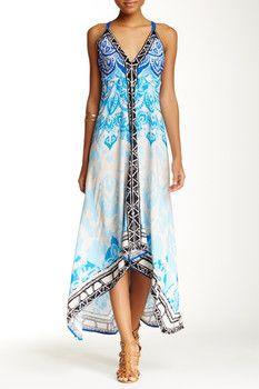 Flying Tomato Handkerchief Hem Print Maxi Dress