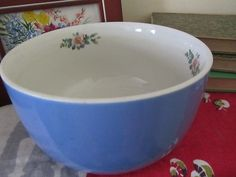 "HALL ROSE PARADE 1945 MID-CENTURY BLUE WHITE 7 1/2"" MIXING BOWL 1259 MADE US A+"