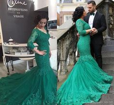 2017 New Arabic Prom Dresses V Neck Hunter Green Lace Appliques Beaded Tulle Mermaid Custom Court Train Formal Evening Dress Party Gowns Dresses Evening Wear 2017 Prom Dresses Plus Size Formal Dress with Sleeves Online with 193.15/Piece on Yes_mrs's Store | DHgate.com