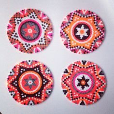 Hama perler bead coasters by saraseir Perler beads for me, are a great way to make something quick that really pops! This week I've taken out my beads and am playing around with different ideas. Perler Bead Designs, Hama Beads Design, Hama Beads Patterns, Perler Bead Art, Beading Patterns, Hama Perler, Jewelry Patterns, Embroidery Patterns, Jewelry Ideas
