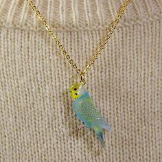 budgie bird Pendant & Necklace budgerigar by PetitMaterial
