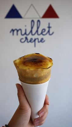 Creme Brulee Crepe from Millet Crepe in Los Angeles (Sawtelle). This is a fresh creme brulee on top of ice cream and more!