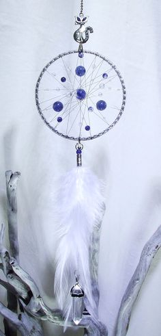 Blue White Silver Crystal Dream Catcher Wall by TigerEmporium