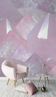 This crystal wallpaper design literally dazzles, bringing an almost effect to your living room spaces. Go bold or go home with pastel pink accessories! Design Living Room, Living Room Decor, Bedroom Decor, Salon Interior Design, Interior Decorating, Interior Paint, Wall Design, House Design, Home Decor Accessories