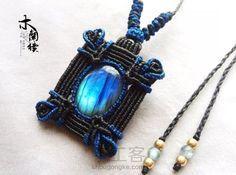 """""""蓝色妖姬""""拉长石方牌编织教程 Macrame Bag, Macrame Necklace, Macrame Knots, Amber Necklace, Micro Macrame, Macrame Jewelry, Hemp Jewelry, Lace Jewelry, Jewelery"""