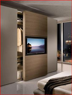Modern Master Bedroom, Tv In Bedroom, Master Bedroom Design, Closet Bedroom, Bedroom Decor, Wardrobe Closet, Contemporary Bedroom, Bedroom Ideas, Bedroom Lighting