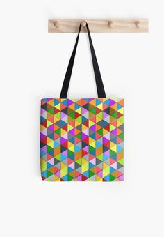 Modern Geometric fun Colourful triangle galore pattern tote bag by #PLdesign #geometric #ColorfulTriangles